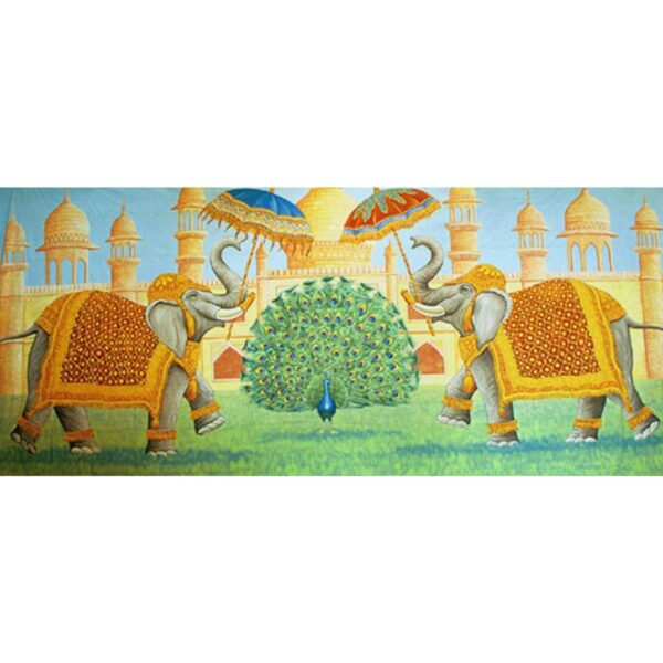 Indian Temple With Elephants Painted Backdrop BD-0251-2204