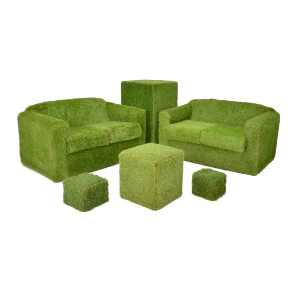 Astro Turf Couches and Grass-covered Plinths