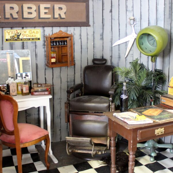 Antique Leather Barber Shop Chair - Sydney Prop Specialists - Prop Hire and Event Theming