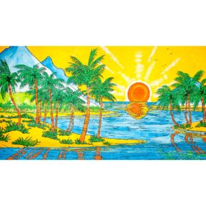 Sunset on a Tropical Paradise Painted Backdrop BD-0024