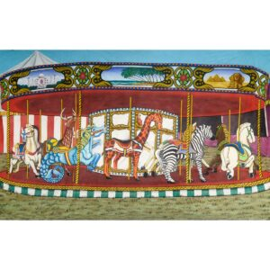 Circus Carousel Merry Go Round Painted Backdrop BD-0042