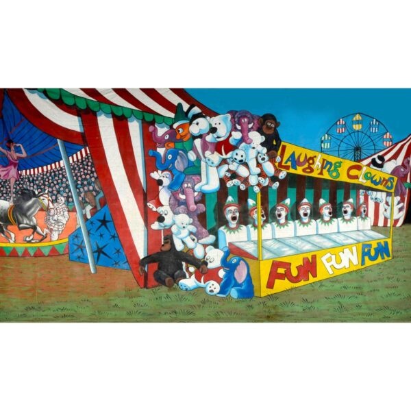 Circus Sideshow Alley Clowns Painted Backdrop BD-0043