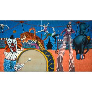 Circus Performers Entertaining Crowd Painted Backdrop BD-0046