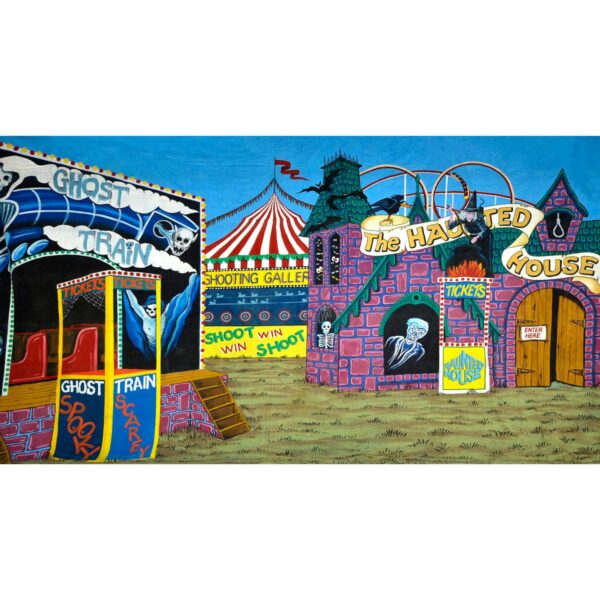 Circus Sideshow Alley Haunted House Painted Backdrop BD-0048