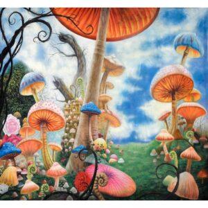 Alice in Wonderland Mushroom Forest Painted Backdrop BD-0063