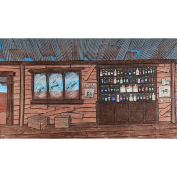 American West Saloon Bar Interior Painted Backdrop BD-0123