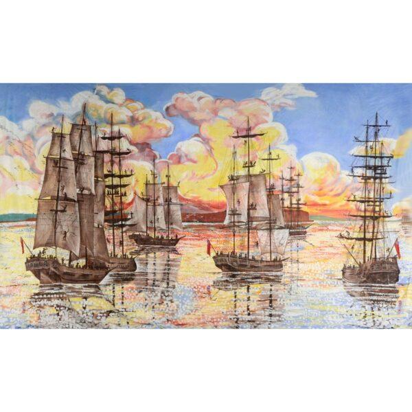 Tall Ships at Sunset Painted Backdrop BD-0124