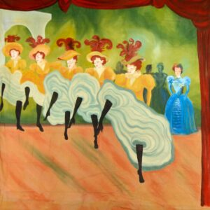 Can Can Dancers and Crowd Right Painted Backdrop BD-0171