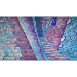 Haunted House Stone Staircase Painted Backdrop BD-0201
