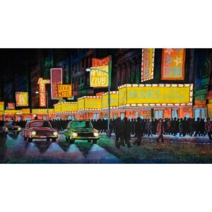 Hollywood Boulevard at Night Painted Backdrop BD-0221