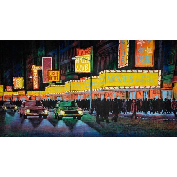 Hollywood Boulevard at Night Painted Backdrop BD-0221