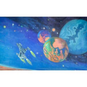 Alien Invasion Spaceships and Planets Painted Backdrop BD-0231