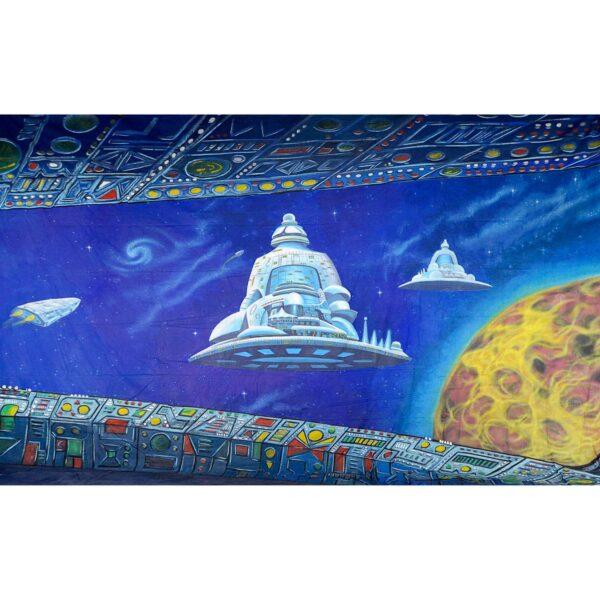 Alien Invasion Orbiting Fleet Painted Backdrop BD-0232