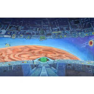 Alien Invasion Command Ship Approaching Planet Painted Backdrop BD-0233