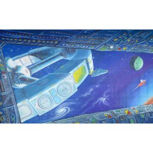 Alien Invasion View From Orbiting Space Station Painted Backdrop BD-0234