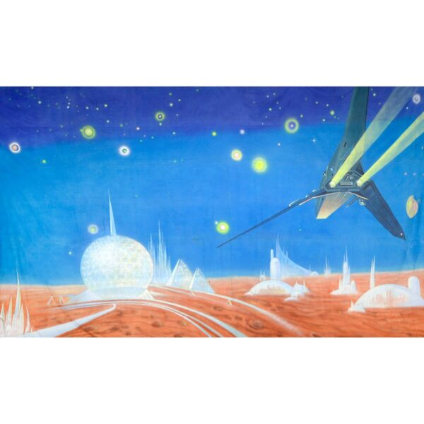 Alien Invasion City On Planet Surface Painted Backdrop BD-0235