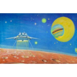 Alien Invasion Space Ship Landing On Planet Painted Backdrop BD-0236