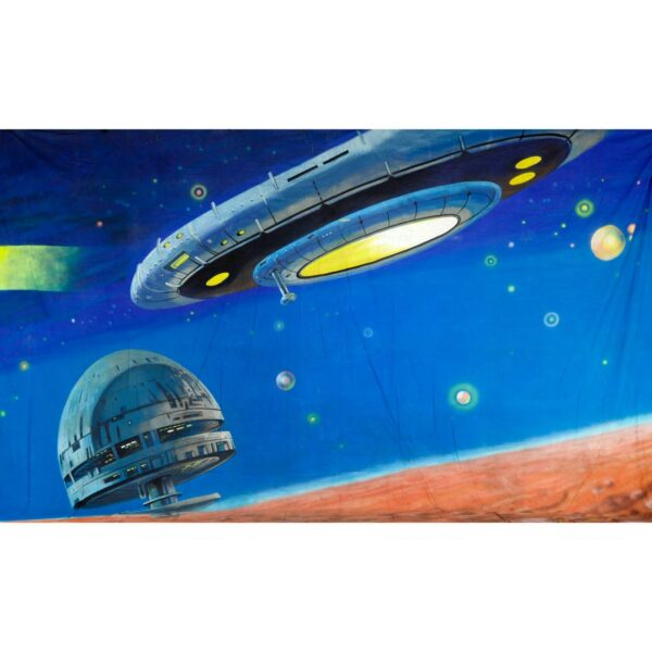 Alien Invasion Futuristic Spaceships and Space Station Painted Backdrop BD-0237