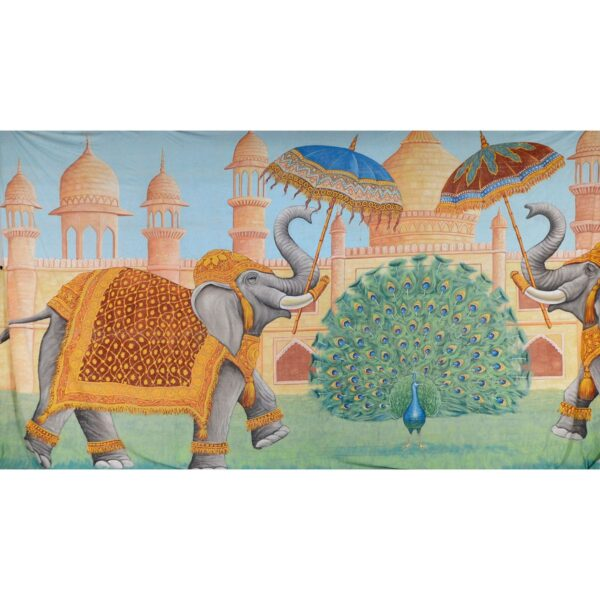 Indian Temple With Elephants Painted Backdrop BD-0251
