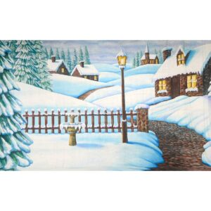 Snow Covered Village Painted Backdrop BD-0262