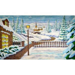 Winter Wonderland Snow Covered Town Painted Backdrop BD-0265