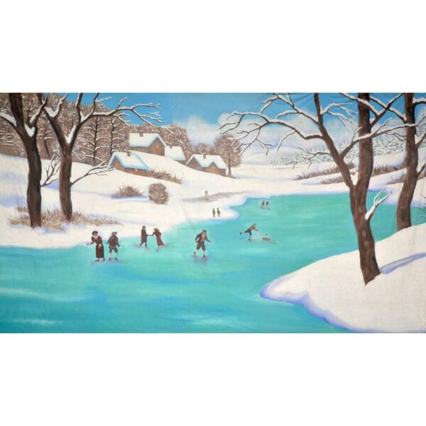 Winter Wonderland Ice Skaters on the Lake Painted Backdrop BD-0268