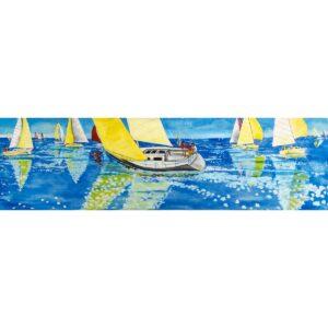 Sailing Yachts Racing at Sea Painted Backdrop BD-0311