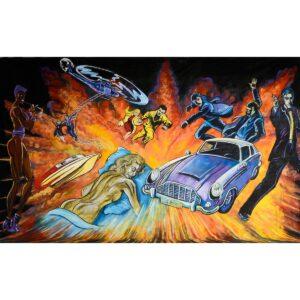 Secret Agent Montage Painted Backdrop BD-0351