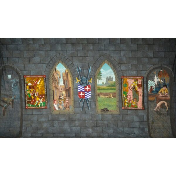Medieval Castle Wall with Windows and Tapestries Painted Backdrop BD-0386