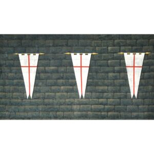 Medieval Castle Stone Wall with Three Hanging Pennants BD-0391