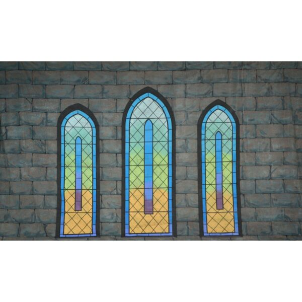 Medieval Castle Wall with Stained Glass Windows Painted Backdrop BD-0394