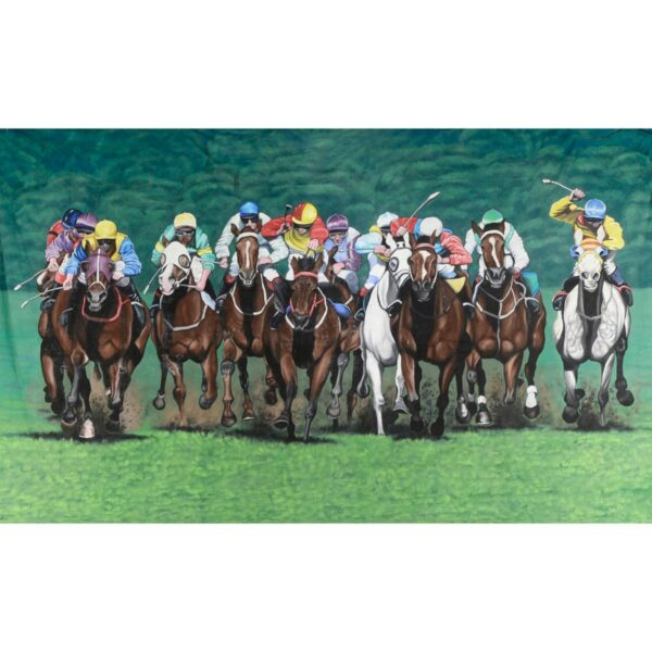 Horse Racing Head On Painted Backdrop BD-0421
