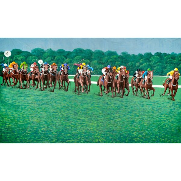 Melbourne Cup Horses Galloping Painted Backdrop BD-0423