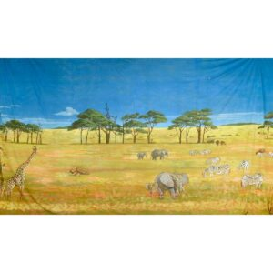 African Savanna Landscape With Wildlife Painted Backdrop BD-0490