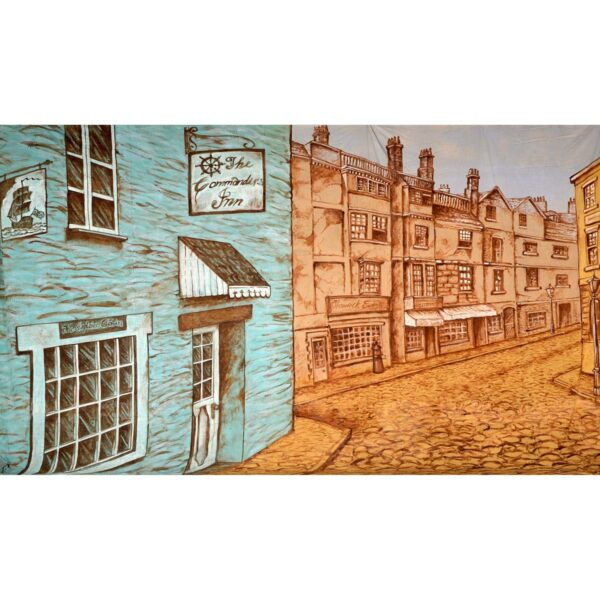 London Cobblestone Street Painted Backdrop BD-0513