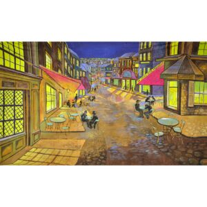Paris Street Scene at Night Painted Backdrop BD-0516