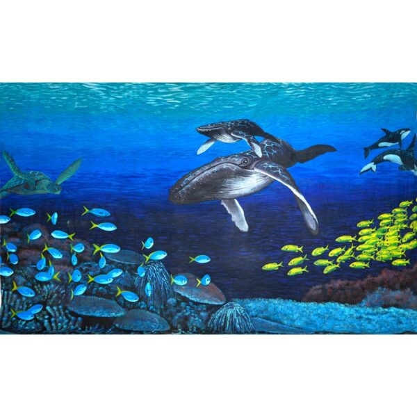 Underwater Whales at Play Painted Backdrop BD-0601
