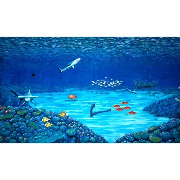 Underwater Coral Reef Wreck Painted Backdrop BD-0602