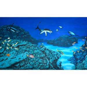 Underwater Sharks and Tropical Fish in Reef Painted Backdrop BD-0612