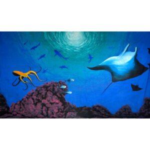 Underwater Manta Ray Painted Backdrop BD-0613