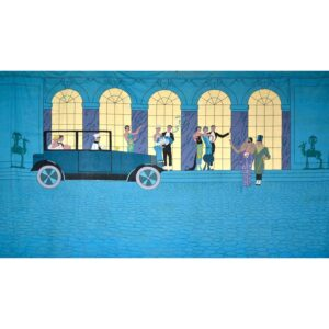 Roaring Twenties Greeting Party Guests Painted Backdrop BD-0763