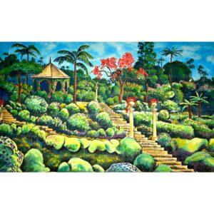 Stately Manor Hillside Garden Painted Backdrop BD-0820