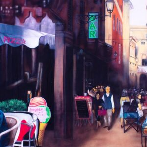 Street Cafe Scene Painted Backdrop BD-0517