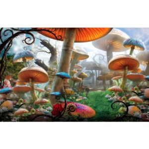 Alice in Wonderland Mushroom Forest Painted Backdrop BD-0061