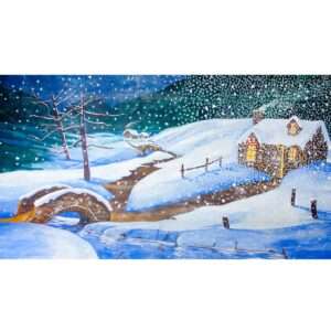 Winter Wonderland Snow Falling on Cottage Painted Backdrop BD-16-0