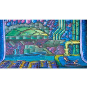 Secret Agent Underground Submarine Fortress Painted Backdrop BD-0355