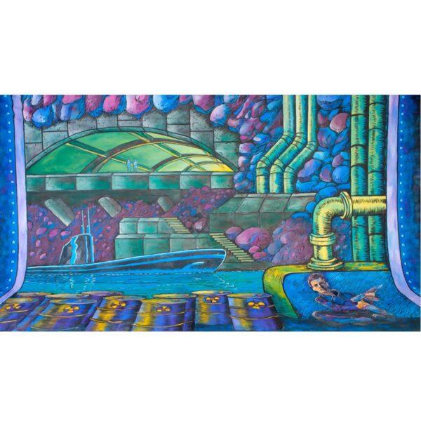 Secret Agent Underground Submarine Fortress Painted Backdrop BD-0355