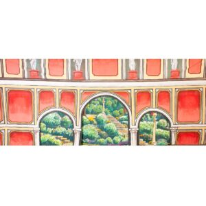 Arches and Statues Painted Backdrop BD-38-0