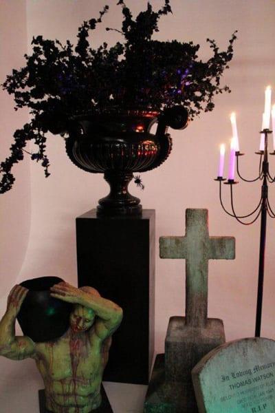 Black Urn with Black Flowers on a Black Pedestal-0