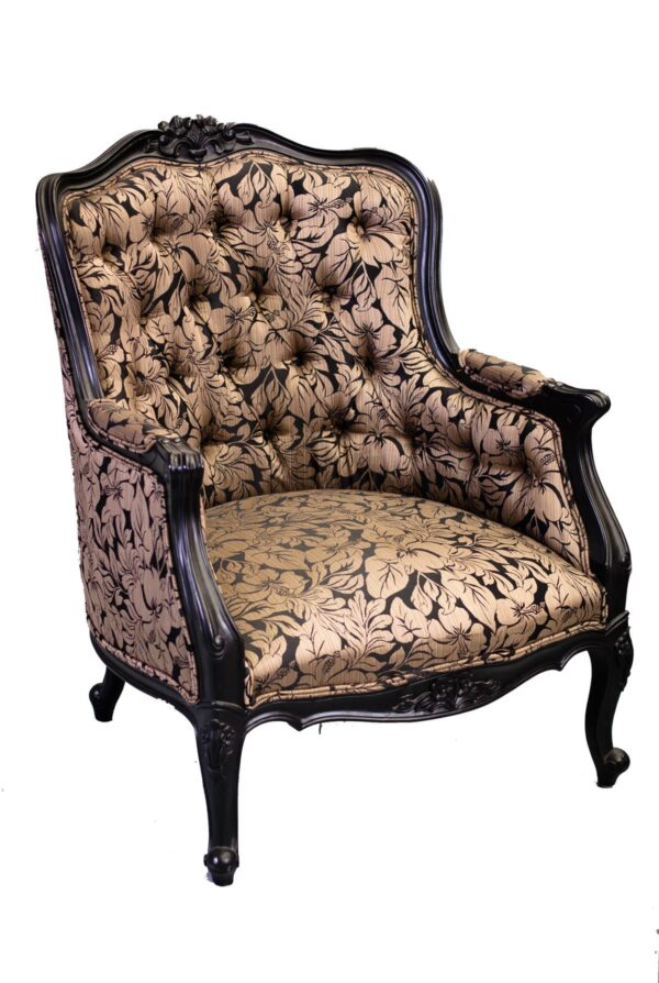 Ornate Black and Gold Floral Tub Armchair-0